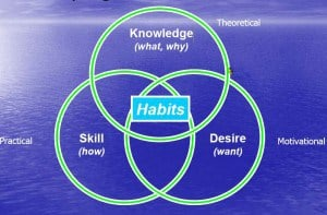 Business Skills & Personal CPD training.  Skills Knowledge Desire Habits interaction matrix