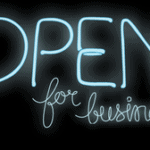 Neion sign - open for business